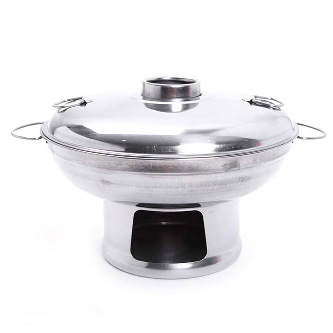 Nồi Lẩu Inox 24 Cm Sử Dụng Cồn/ Than